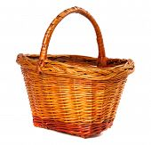 Wicker Basket On White Background.