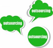 Outsourcing. Set Of Stickers, Labels, Tags. Business Banners, Template For Infographics