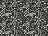 Seamless Doodle Halloween Holiday Background
