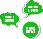 Mobile News. Set Of Stickers, Labels, Tags. Business Banners, Template For Infographics
