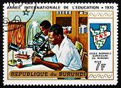 Postage Stamp Burundi 1970 Students In Laboratory