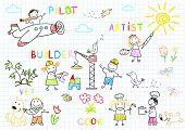 Happy children in work wear. Sketch on notebook page