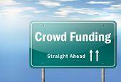 Highway Signpost Crowd Funding