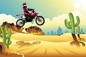 Motor Cross Rider In The Desert