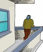 Man On Balcony Over White