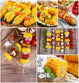 Collage of grilled corn cobs