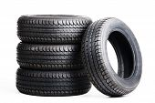 summer tires isolated on white background