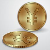 Vector illustration of gold coins with Japanese Yen currency sign