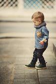 little boy on stairway