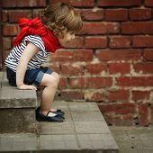 little girl on stairway