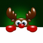 Christmas Cartoon Reindeer Over Green Background Holding Blank