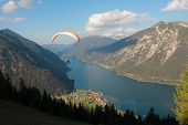Paraglider Over Lake Achensee, Austria