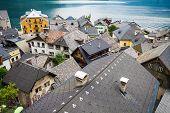 View Of Hallstatt Village Tradidional Rooftops