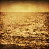 Image of seascape in retro and grunge style.