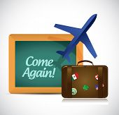 Come Again Travel Sign Illustration Design