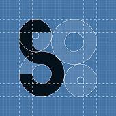 Round engineering font. Symbol 5