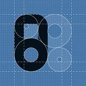 Round engineering font. Symbol 8