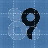 Round engineering font. Symbol 9