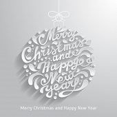 Xmas greeting card with abstract doodle Christmas ball. Merry Christmas and Happy New Year typography, handwriting