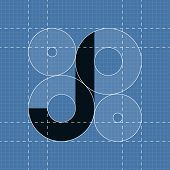 Round engineering font. Symbol J
