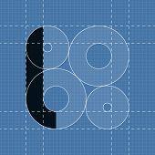 Round engineering font. Symbol L