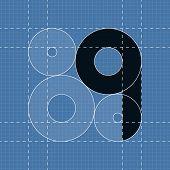 Round engineering font. Symbol Q