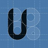 Round engineering font. Symbol U