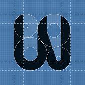 Round engineering font. Symbol W