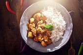 overhead view of indian chicken curry with lens flare
