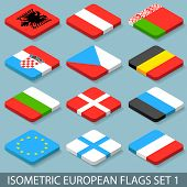 Flat Isometric European Flags Set 1