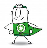 Superhero of recycling is coming back. The Superhero of recycle helps you for the recycling process