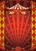 circus red and gold rhombus poster. A retro circus poster with sunbeams for your entertainment.