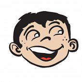 smiling boy head cartoon illustration