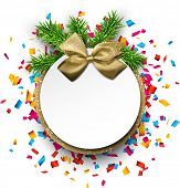 Christmas round gift card with golden bow and confetti. Vector illustration.