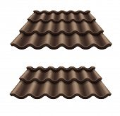 dark chocolate corrugated tile element of roof. Rasterized illustration.