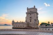 view of the belem tower at sunset, an historic monument in Lisbon, Portugal, Europe