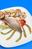 Seabass fillet with grilled vegetables