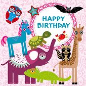 Funny Animals Party Card Design On A Pink Floral Background.