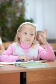 First Grader Girl Puts Her Hand Up