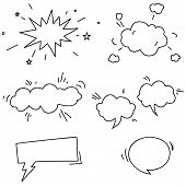 Set of hand drawn comic speech bubbles elements symbols and sound effects