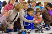NOVOSIBIRSK, RUSSIA - OCTOBER 5, 2014: Toothy plastic robot demonstrated for children on the 4th Russian Science Festival. The event aimed to popularize science and demonstrate technical advances