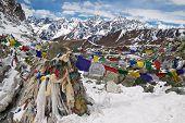 Prayer Flags At The Cho La Pass. Himalayas. Nepal