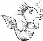 Cute Sea Horse Sketch Vector Illustration Art