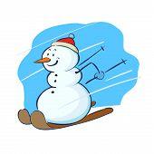 Snowman Playing Ski