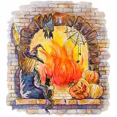 Vector Hand Pictured Halloween Card With Witch