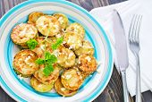 picture of marrow  - fried marrow with garlic on the plate - JPG
