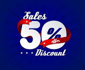 Sale poster with 50% percent discount. Blue edition with red ribbon for sales.