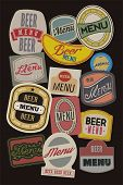 Beer menu design with retro beer labels. Vector illustration.