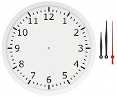 template clock with arrows and numbers isolated on a white background