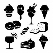 Set Of Black Isolated Food Icons, Desserts, Ice Creams, Vector